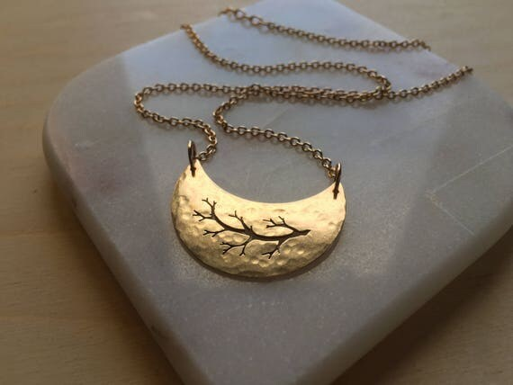 Brass Crescent Moon Necklace. Unique handmade lunar pendant