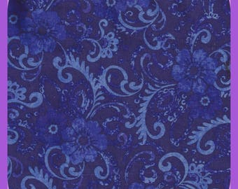 Shades of Purple Cotton FABRIC Filigree and Flowers Fat Quarters FQ Remnant