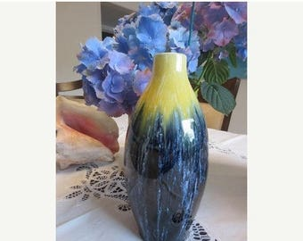 30% OFF SALE Boch Freres La Louviere Antique Vase Blue Yellow Handmade Pottery Belgium
