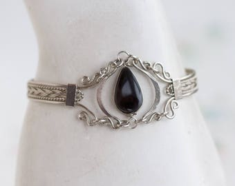 Boho Cuff Bracelet with Black Onyx - Vintage Bangle Silver Tone - Made in Mexico - Vintage Boho Jewelry