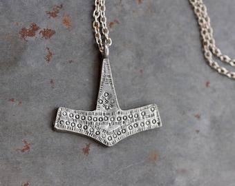 Thor's Hammer Necklace - Pewter Mjolnir Pendant on Chain - Norse Mythology Mjölnir