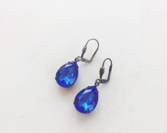 Vintage Sapphire Blue Glass Jewel Earrings || Oxidized Brass Earrings, Blue Earrings, Vintage Rhinestone Earrings