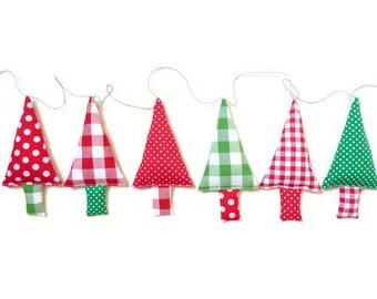 Fabric christmas garland christmas tree bunting christmas gift christmas banner christmas tree garland x-mas trees christmas decoration