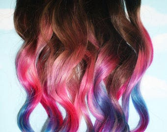 Cloud9jewels on etsy custom tape ins human hair extensions cotton candy unicorn pastel tape in extensions pmusecretfo Images