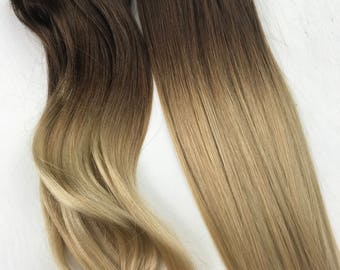 Ombre hair extension etsy bleached tips ombre hair extensions balayage human hair hair extension clip hair pmusecretfo Images