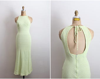 80s Gingham Halter Dress / Summer Dress / Green and White Dress / Plaid Dress / Size XS/S