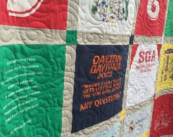 T-Shirt Quilts made from 9 to 36 tees DEPOSIT- Upcycled TShirt Quilts- Tee Shirt Quilts -YOU Choose FABRICS