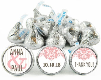 Set of 108 - Silver Wedding Stickers for Hershey's Kisses. Silver Wedding Anniversary Labels for Kisses - Wedding Party Favors - #IDWED711