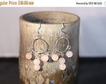 Clearance Sale - Rose Quartz Hoop Earrings - Item 1045