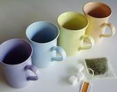 Vintage Mugs, China Mugs, Coffee Mugs, Tea Mugs, Coloroll Mugs, Made in England, Yellow, Blue, Peach, Purple, Pastel, Plain, Solid, Set of 4