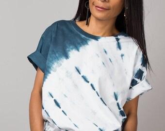 Tie Dye Shirt, T Shirt, Shirt, Summer T shirt, Teal Green and white T Shirt, Ombre T Shirt, Hippie Shirt