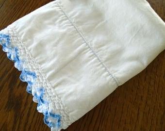 Blue Lace Edge Pillowcase / Vintage White Cotton Pillowcase / Blue Cotton Lace Edge / Vintage Bedding / Farmhouse / Shabby / Cottage Sweet