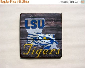 ON SALE LSU distressed wood plaque, 12x12, originial design, gift, football, tigers, wood sign