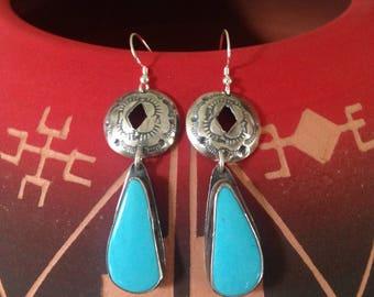 Handmade Earrings, OOAK Southwestern, Boho, Cowgirl, Blue Kingman Turquoise, Concho, Dangle Earrings