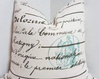 FALL is COMING SALE French Script Pillow Penmanship Blue Stamp Decorative Pillow Cover Throw Pillow 18x18