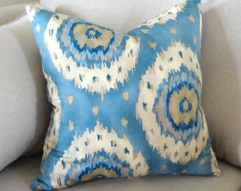 Blue Ikat Print Pillow Cover Decorative Circle Ikat Design Pillow Cover Size 18x18