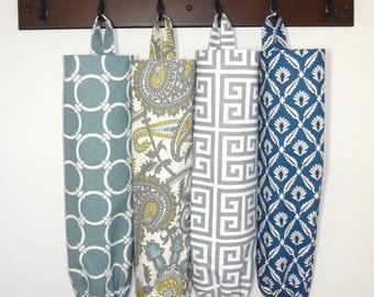 Plastic Bag Holder Grocery Bag Storage Kitchen Bag Storage Linked Greek Key Navy Clover Paisley Bags