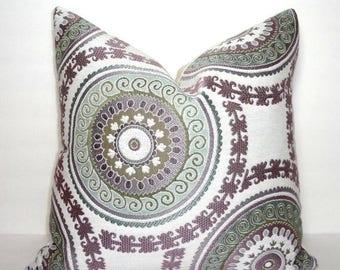 SPRING FORWARD SALE Decorative Lavender & Green Suzani Circle Geometric Pillow Cover Throw Pillow 18x18