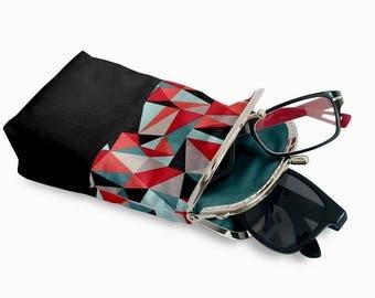 Double Pockets Glasses Case, Eyeglasses Case Double Pockets, Sunglasses / Reading Case, Black Kiss Lock Case, Silver Frame