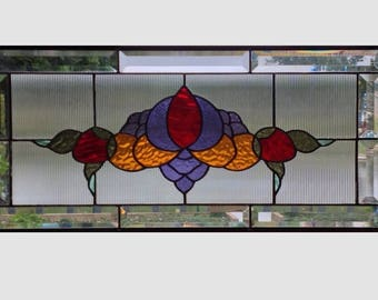 Victorian style flower stained glass panel window hanging red purple amber stained glass window panel large transom 0302 24 1/2 x 11 1/2