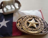 The State of TEXAS Lone Star Brass Buckle, Texas Proud, Made in USA, Texas Western Buckles, Vintage Belt Buckles, Remember the Alamo TEXAS