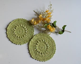 "Small Crochet Doily Pair - Pale Lime Green - Lacy Small Mini 5 1/2"" - Set of 2"