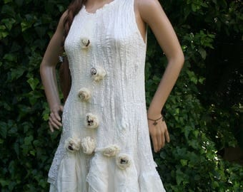 "Silk and white felt dress off ""Wildflower""..."