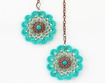 Drop earrings Big bold dangle Turquoise beige Flower beaded crochet jewelry Hippie Gypsy Boho Nautical Summer festival fashion Beach