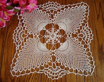 Crochet Lace Doily Ivory Centerpiece Doily Vintage Table Linens