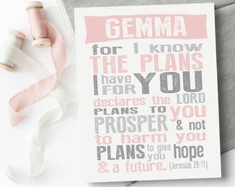 Nursery Canvas Wall Art - Jeremiah 29 11 - I Know The Plans - Scripture Wall Art - Bible Verse Canvas - Playroom Decor - New Mom Gift