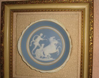 Limoges Cameo Framed Blue and White Pate Sur Pate Plate for Sungott Art Studios