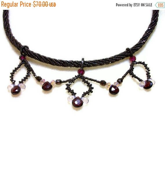 MEGA CLEARANCE Victorian Garnet Necklace - Beadwoven with Crystals & 14 Karat Gold Plated Box Clasp