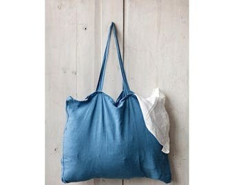 Blue Bag, Linen Bag, Travel Bag, Summer Bag, Shopping Bag, Retro Bag, Shoulder Bag, Large Bag, Messenger Bag, Hipster Bag, Hobo Bag