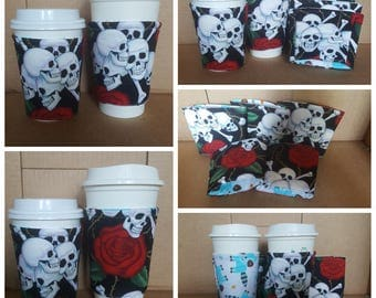 Set of 5 Skull Fabric coffee cozy / cup sleeve / coffee sleeve / coffee cup holder - Boneheads Happy Skulls with Red Rose