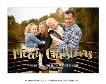 Christmas Photo Card-, Merry Christmas, Family, Picture, Christian, Gold Foil
