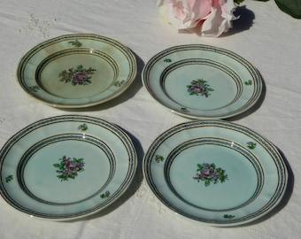 Adams Calyx Ware Nanking Wedgwood Group FOUR Dessert Plates, Vintage Nanking Adams English Ironstone 4 Dessert Plates Turquoise Pink (ØK)