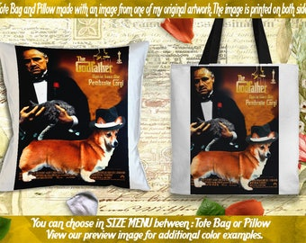 Welsh Corgi Pillow or Tote Bag/Welsh Corgi Art/Dog Tote Bag/Dog Pillow/Dog Art/Custom Dog Portrait - The Godfather Movie Poster