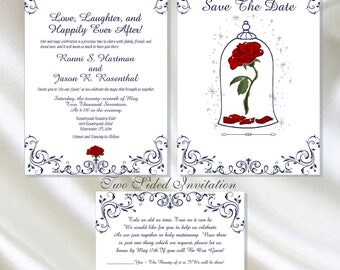 Enchanted Rose Beauty And The Beast Wedding Invitation | Calligraphy Wedding Invitation