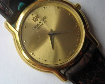Raymond Weil Ladies Quartz Swiss Made Wristwatch 18K Gold Electroplated Perfect Condition