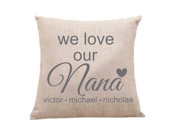 Love Nana Pillow Case, Throw Pillow Cover, Decorative Pillow Case, Personalized Pillow Case, Nana gift