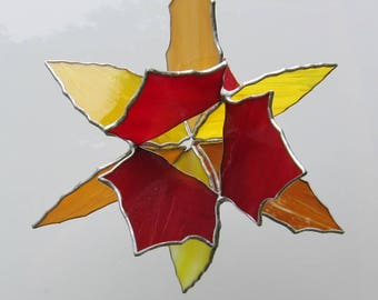 3D Stained Glass suncatcher hanging Star 3 dimensional, autumn leaves in red, yellow orange and brown , 12 x 9 x 9 inches great  gift 3 D