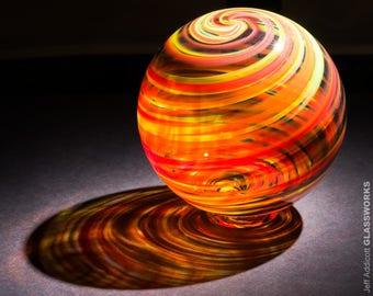 "Hand Blown Glass Float - Bold Hot ""Tortoise"" Color Streaks"
