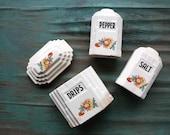 Ceramic Floral Range Set, Lidded Canister, Kitchen Storage, Vintage Container, Vintage Grease Drip Jar, Storage, Salt & Pepper Shakers