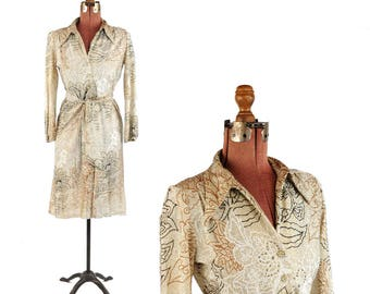 Vintage 1970's Sheer Silver + Metallic Gold Abstract Lurex Floral Print Party Cocktail Dress S