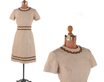 Vintage 1960's Carly Taupe Brown Gingham + Rickrack Trim Mod Cotton Cocktail Dress S