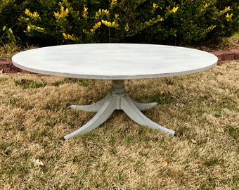 Vintage Chic Dove Grey Oval Coffee Table