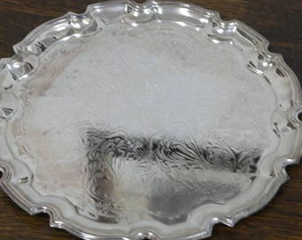 vintage etched ornate edge drinks serving tray