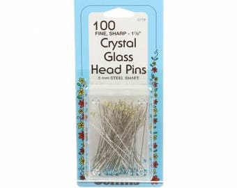 Collins Crystal Glass Head Pin Size 30 1-7/8in 100ct, #110C