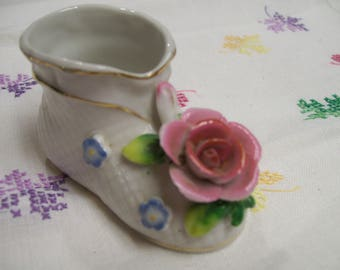 Vintage Hand Painted Shoe Figurine Toothpick Holder Decorative Shoe Occupied Japan Mid Century Home Decor by Marurjama Pink Rose Decoration