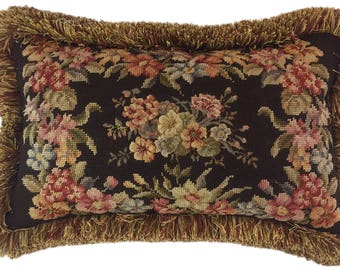 Floral bouquet needlepoint pillow